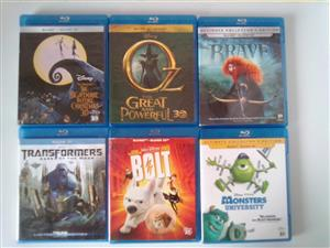 3D BluRay plus BluRay Movies. Two discs in the box. R90 each..