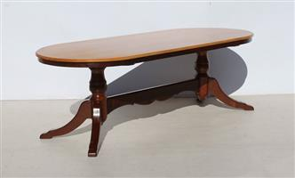 Imbuia and Yellow Wood Oval 8 Seater Dining Room Table