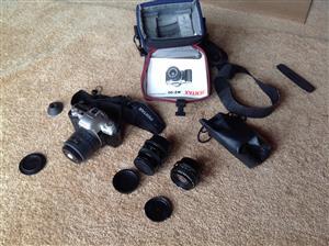 Pentax MZ-50 film camera with close-up and telelens, carry bag etc.