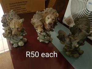 Leopard,lion and rhino ornaments