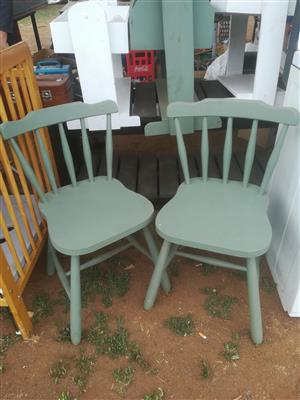 2 green wooden chairs for sale