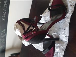 Black and Burgundy Heels