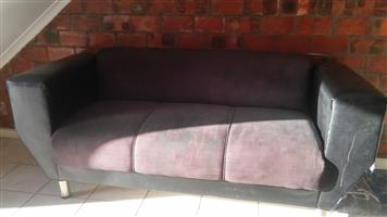 3 seater black couch. R700.