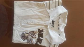 White and brown shirt for sale