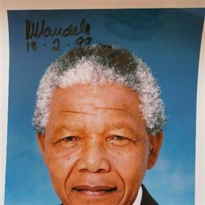 Mandela original signed and dated size A4 photo
