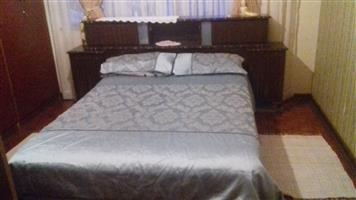 Imbuia bed frame with mattress for sale