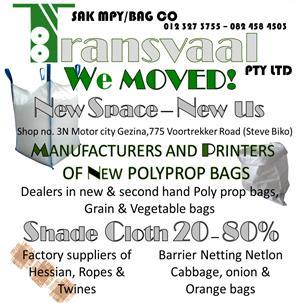 Polypropylene bags - 50kg second hand for sale
