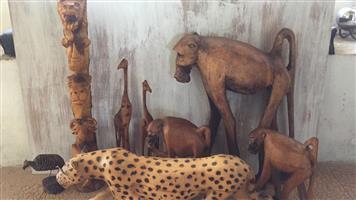 Hand-carved wooden wild animals