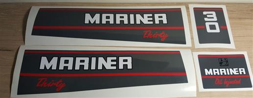 1991 Mariner 30 outboard motor cowl decals stickers graphics kits