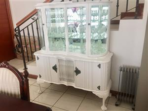 White Ball & Claw Crockery and Glass cabinet