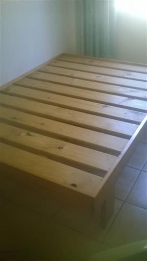 Double bed, pine. Base only. R1500. Mattress R1600. High density foam.