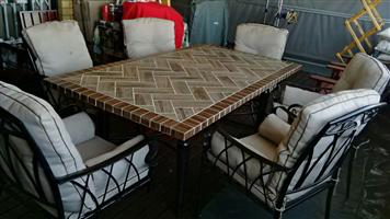 Patio Set: Cement table, 6 chairs and Gazebo