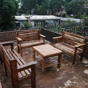 Pallet wooden garden set 8 seater with table