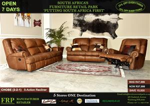 CHOBE LOUNGE 3-2-1 5 ACTION RECLINERS 100 % LEATHER UPPER