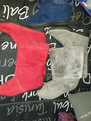 Grey and red ladies winter boots