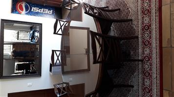 Glass top fo woodden table 2m diametre cut in 2 halfs