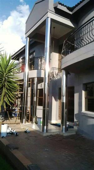 Stainless steel pillar covers and gutters
