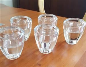 Glass Tealight Holders x 5