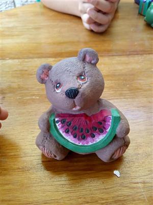 Watermelon teddy ceramic ornament