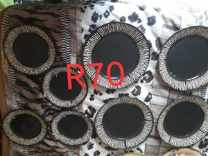 Black and white zebra print plate set