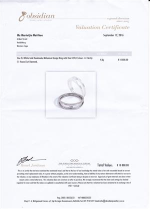 9 ct White Gold Handmade Millenium Design Ring  with one 0.22 ct colour I-J clarity S-I Round cut diamond for sale. Valuation certificate 19/09/2016 value R10 800 selling for R7000.  Only serious buyers plse