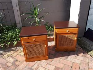 2 Pine wood Bed Pedestals for sale