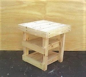 Night stand Farmhouse series 515 with 2 shelves - Raw