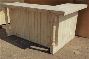 Bar Counter Chunky Farmhouse series 2200 L shape with turned legs - Raw