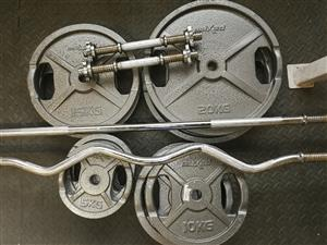 Weight set 130kg with bars.