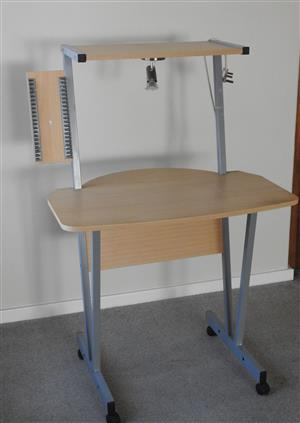 Computer Desk, complete with wheels, also overhead light