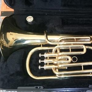 Baritone horn in case.