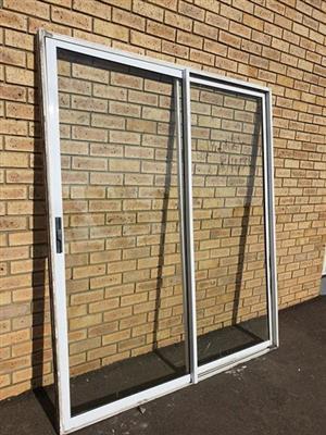 White aluminum sliding door