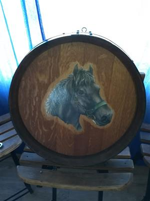 Wine barrel top with horse