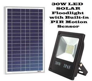 Solar LED Floodlights with built-in PIR Motion Sensor 30W.  Brand New Products.