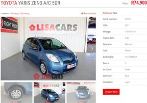 2011 Toyota Yaris sedan 1.3 Zen3 Plus auto