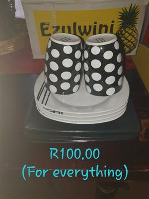 Polka dot plate and mug set for sale