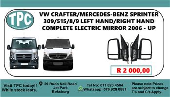 VW Crafter/Mercedes-Benz Sprinter 309/515/8/9 Left Hand/Right Hand Complete Electric Mirror 2006 - Up - For Sale at TPC