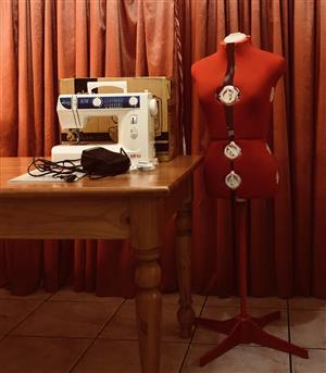 Elna sewing machine and dressmaking mannequin
