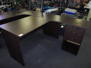 2x Wooden L-Shape Office Desk & Credenza