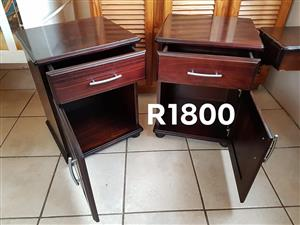 2 Dark wooden side cabinets