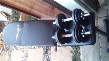16 kg Adjustable Dumbell Set plus Bench