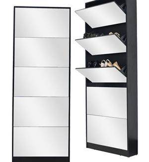 5 Shelves Shoe Storage Cabinet with Full Length Mirror - Brown
