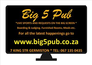 Fully Licensed accommodation, meals, bar, free wifi etc. GERMISTON..