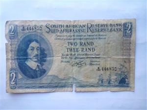 Vintage South African Twee Rand Note
