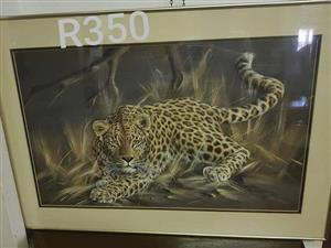 Large framed leopard painting