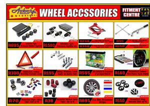 Wheel and tyre accessories, pressure monitors, valve caps, rim protection, wheel paint spray, jacks