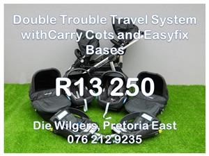 Second Hand Double Trouble Maxi-Cosi Seats, Easyfix  Bases and Carry Cots