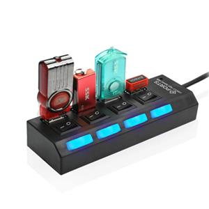 4 Port USB Hub with Switches