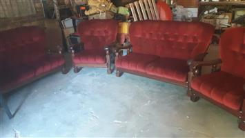 6 seater very rare imbuia wood lounge suite