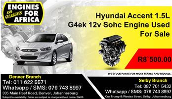 Hyundai Accent 1.5L G4FK 16v Engine Used For Sale.